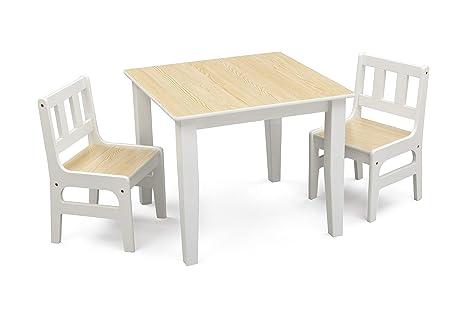 DELTA Kleiner Tisch und Stühle (Natural/Weiß)