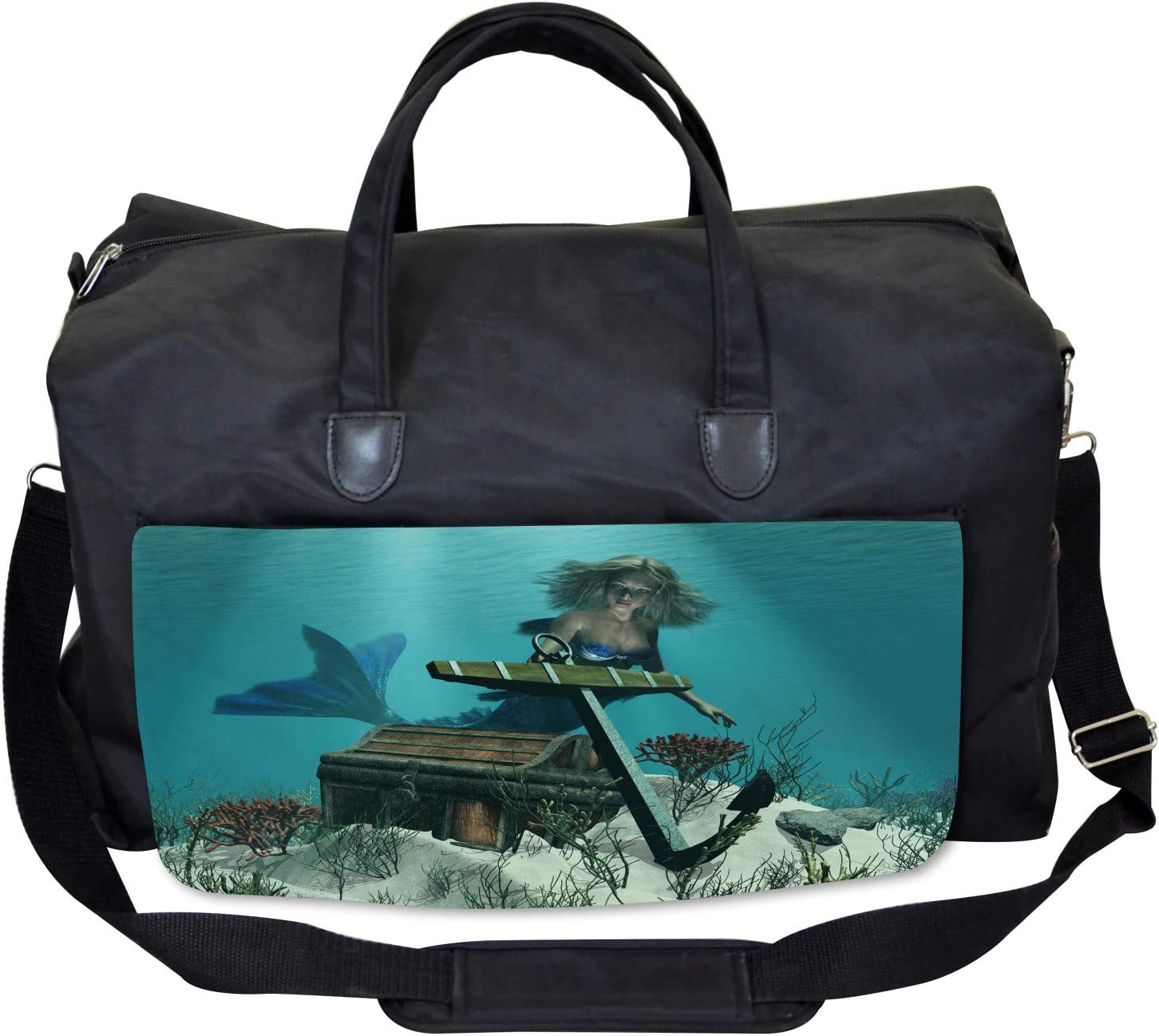 Ambesonne Mermaid Gym Bag Large Weekender Carry-on Ocean Mythical Pirate