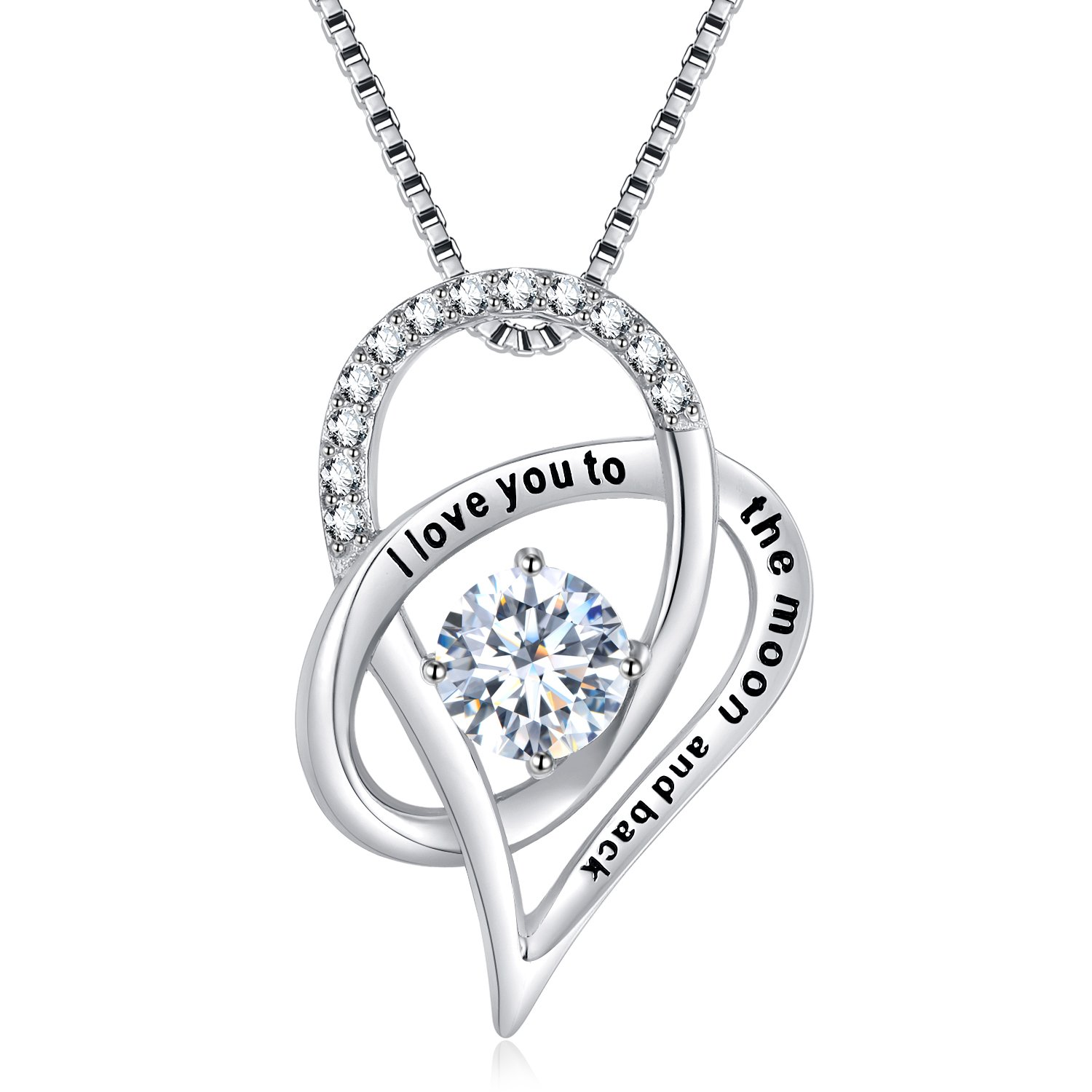 SOMEN TUNGSTEN Sterling Silver I Love You to The Moon and Back Cubic Zirconia Necklace Heart Pendant