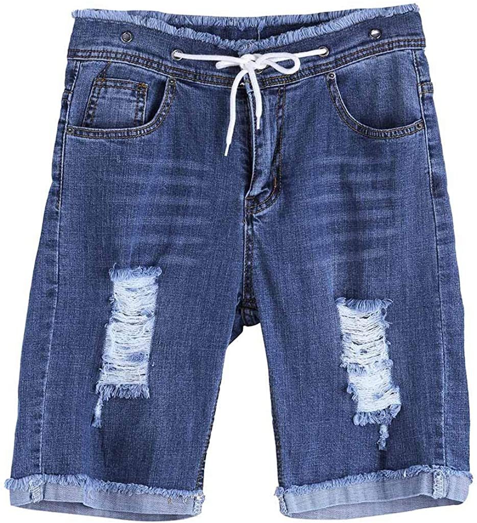 F_Gotal Men's Ripped Denim Shorts Distressed Jeans