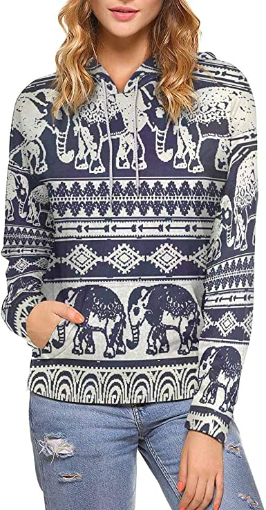 INTERESTPRINT Womens Long Sleeve Sweatshirt Funny Cat Kitty Casual Pullover Tops XS-XL