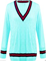 Sphere New Ladies V Neck Chunky Cable Knit Cricket Jumper Sweater One Size 8-14