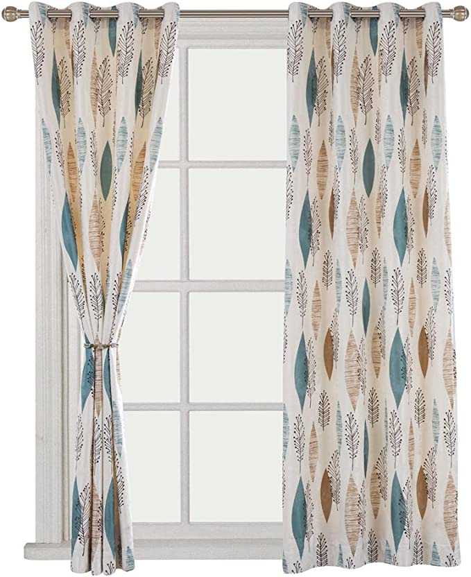 Cherry Home Rustic Curtains With Floral Leaves Blossom Room Darkening Blocking Light Lined Curtains Panel Drapes Bedroom Grommet Top 1 Panel 52wx84l Inch Kitchen Dining