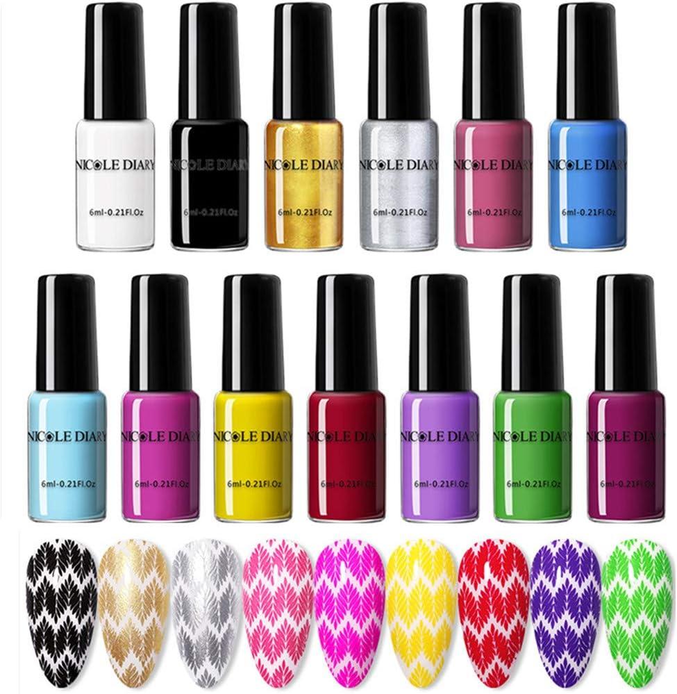 NICOLE DIARY 6 ml Estampado de esmalte de uñas Color puro Impresión de la plantilla Polaco Laca Nail Art Sello Barniz Manicura Diseño de bricolaje (13 colores)