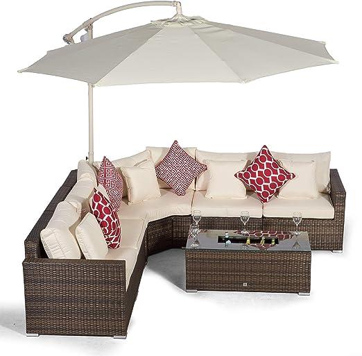 Giardino Santorini Juego de sofá esquinero de ratán marrón de 5 asientos + mesa grande de