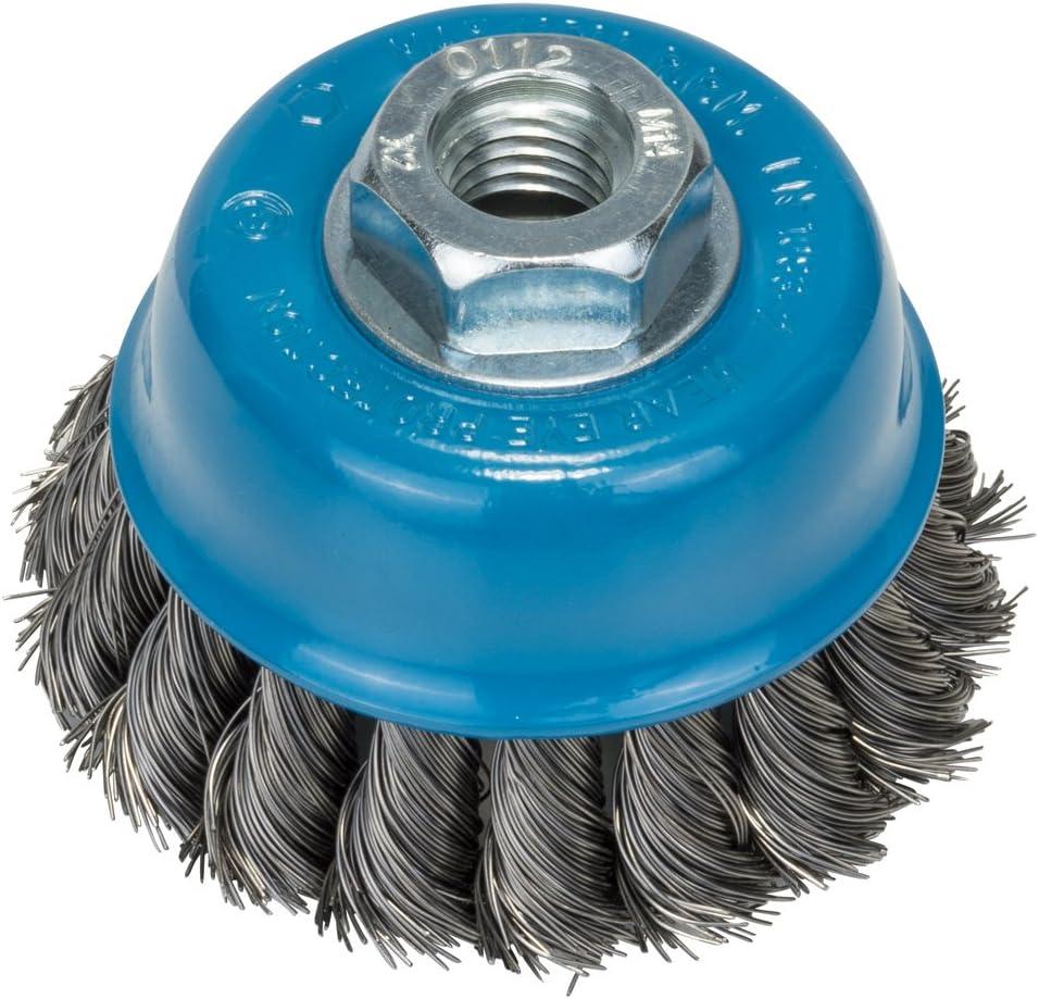 1x Rundbürste Kegelbürste gezopft M14 Flex Drahtbürste Zopfbürste Stahl Bürste
