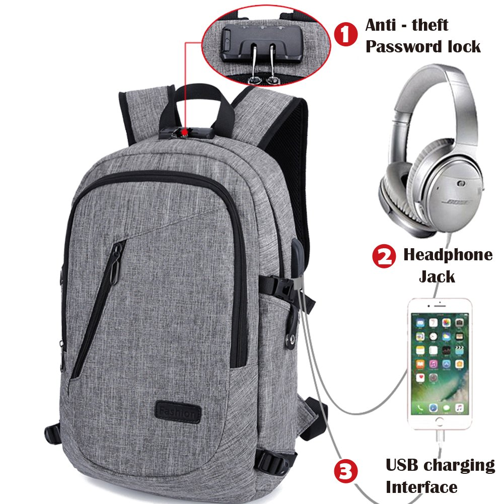 Travel Laptop Backpack,Business Computer Bag with Headphone Port, Anti Theft School Computer Backpacks with USB Charging Hole and Water Resistant Fits 15.6 inch Laptop (Black) RJEU