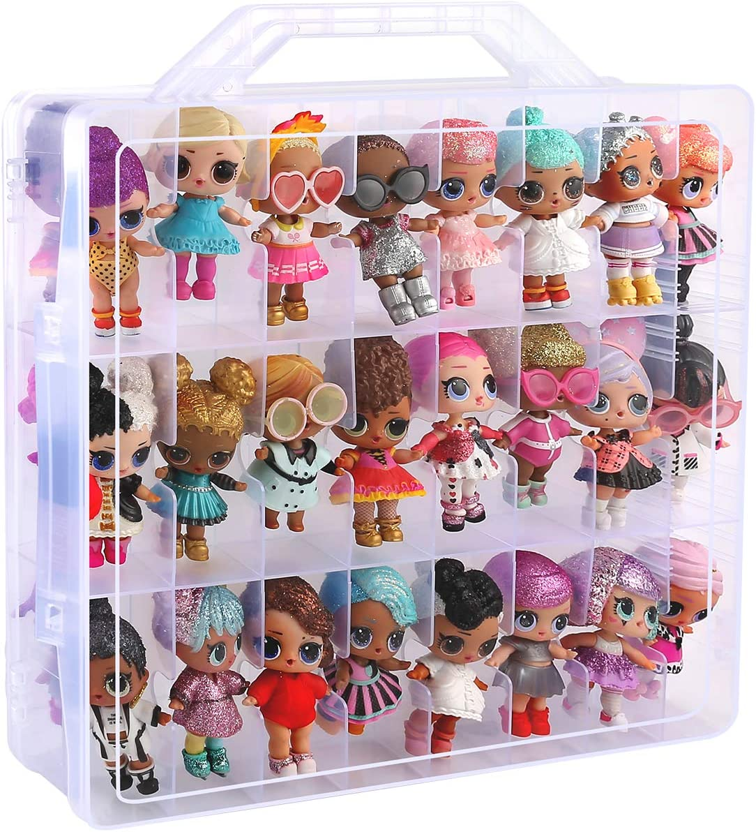 Toys Organizer Storage Case for LOL Surprise O.M.G Dolls, Bakugan, Calico Critters, LPS Figures, Shopkins, Lego Dimensions and More, 48 Compartment - Double Side