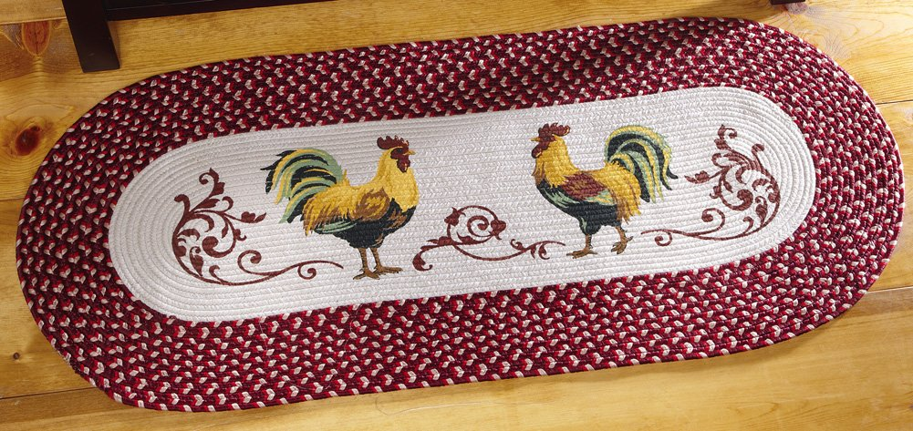 Country Rooster Kitchen Braided Runner
