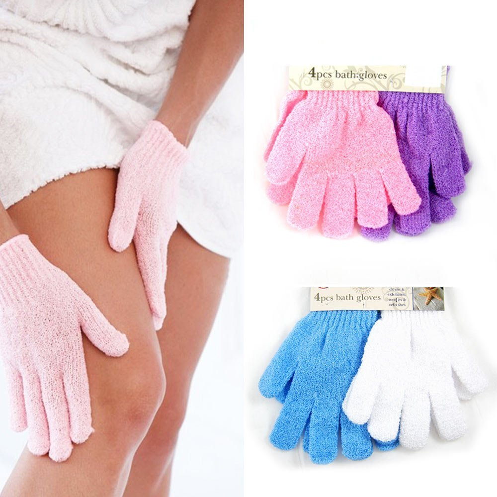 Dealglad® 4paio doccia esfoliante Wash Skin spa Foam Bath Gloves Massage Loofah scrubber DealgladUK VBPALIUKAZIN3039