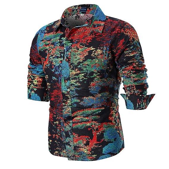 YanHoo Moda Casual Otoño e Invierno de 2018 Blusa Superior de la Camisa de Manga Larga Delgada Ocasional del Verano de los Hombres de la Personalidad ...