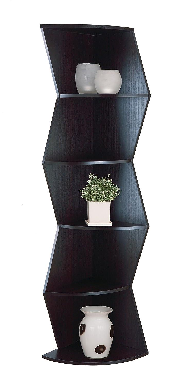Furniture of America Enitial Lab Toren 5-Shelf Corner Display Stand/Bookcase, Cappuccino IDI-13617