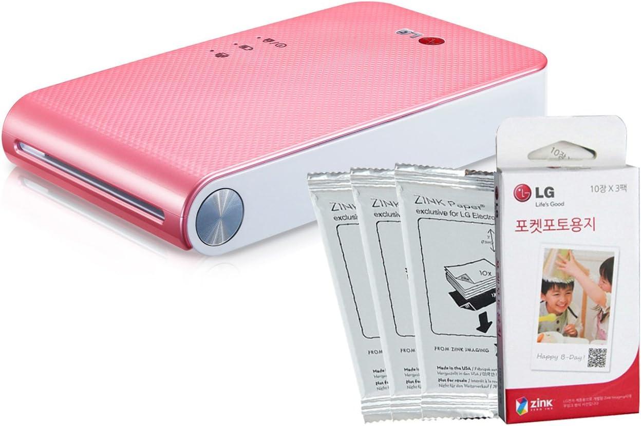 LG PD239 - Impresora de fotos portátil mini y 30 unidades de papel ...