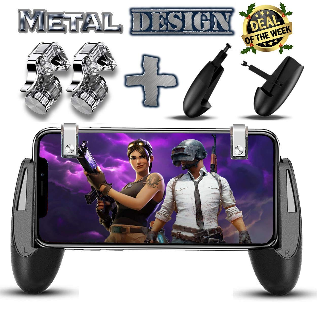 Mobile Game Controller, Jizmo High Sensitive L1R1 Mobile Game triggers for  PUBG Mobile/Knives out