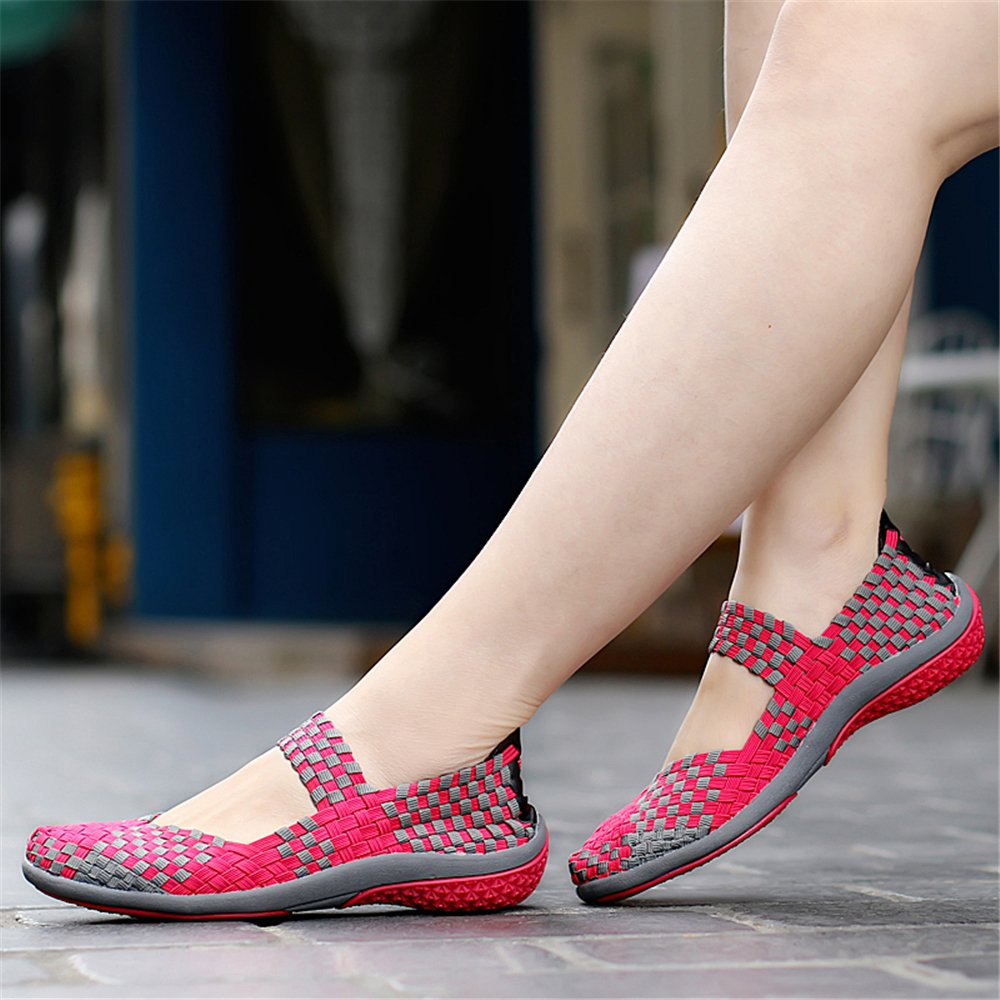 YMY Women's Woven Sneakers Casual Lightweight Sneakers - Breathable Running Shoes B07DXNDFXN US B(M) 6.5 Women Rose