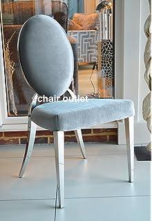 Oval Back Silver Velvet Luxury Glamour Chrome Art Deco Shabby Chic Wedding  Reception Dressing Dining Chair
