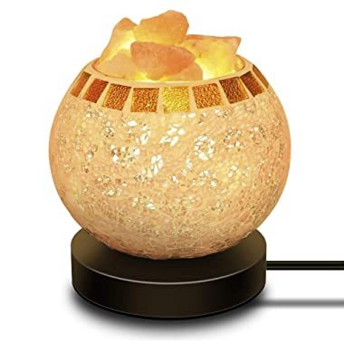 Himalayan Salt Lamp, Natural Crystal Salt Lamp Salt Chunks in Glass Bowl with Wood Base, Bulb and Dimmer Control for Christmas Gift and Home Decorations. [energy class a+++]