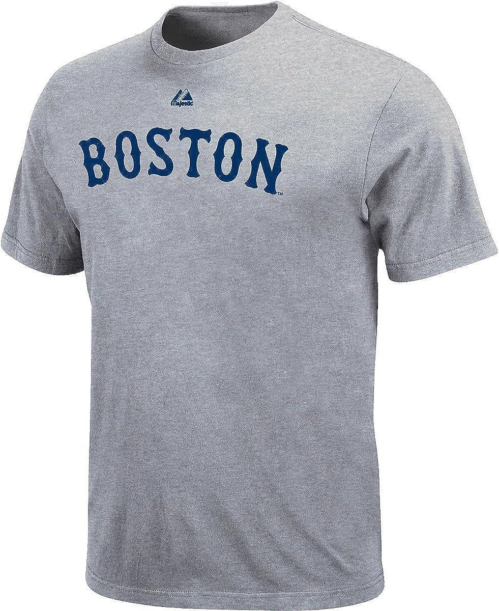 Gray M952 Boston Red Sox, Large Majestic Mens T-Shirts Boston Red Sox Crew Neck T-Shirt