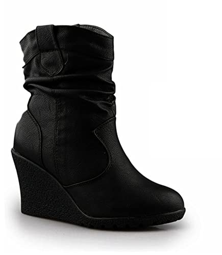 official photos c9eb1 7e717 Neu Damen Stiefeletten Warm Gefüttert Stiefel Keilabsatz Wedges Boots  Plateau Schuhe Q99