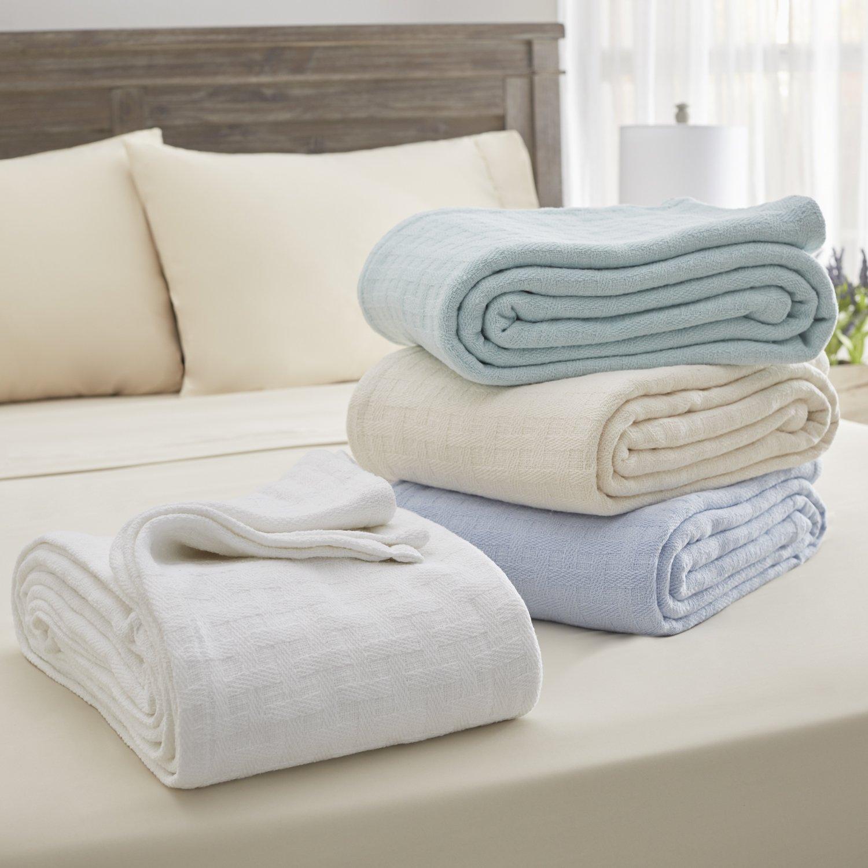 Serta 100% Cotton Blanket, King, Aqua