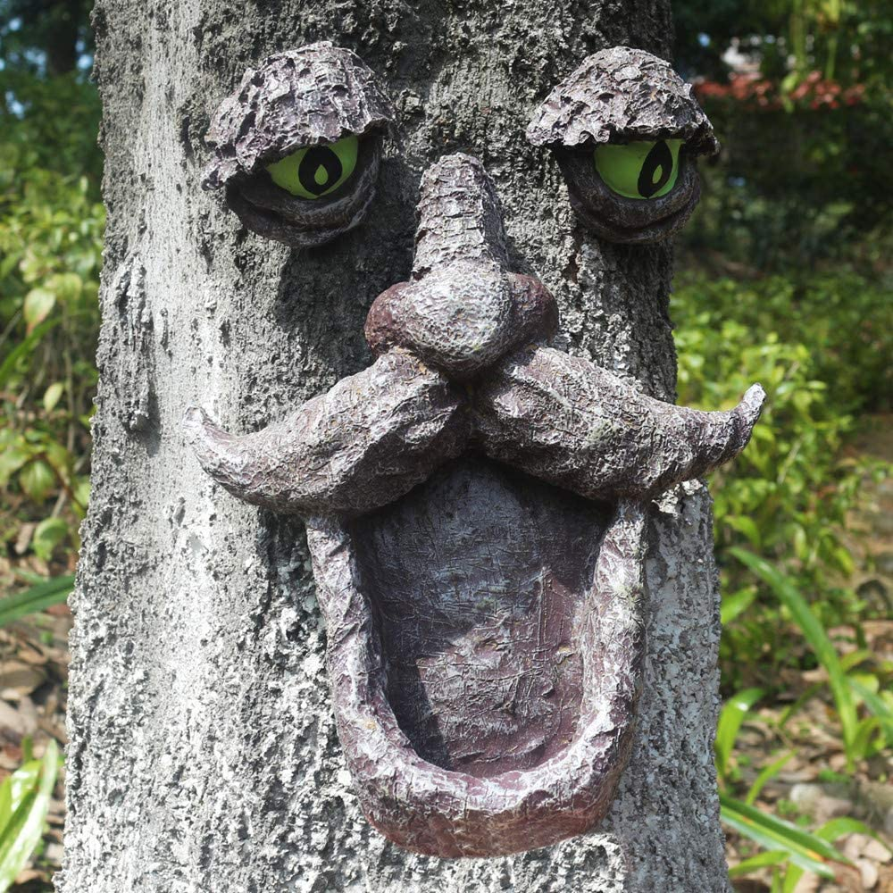 jinhuoba Wild Bird Feeder, Tree Face and Big Eye Feeder, Whimsical Tree Hugger Sculpture -Outdoor & Garden Decor