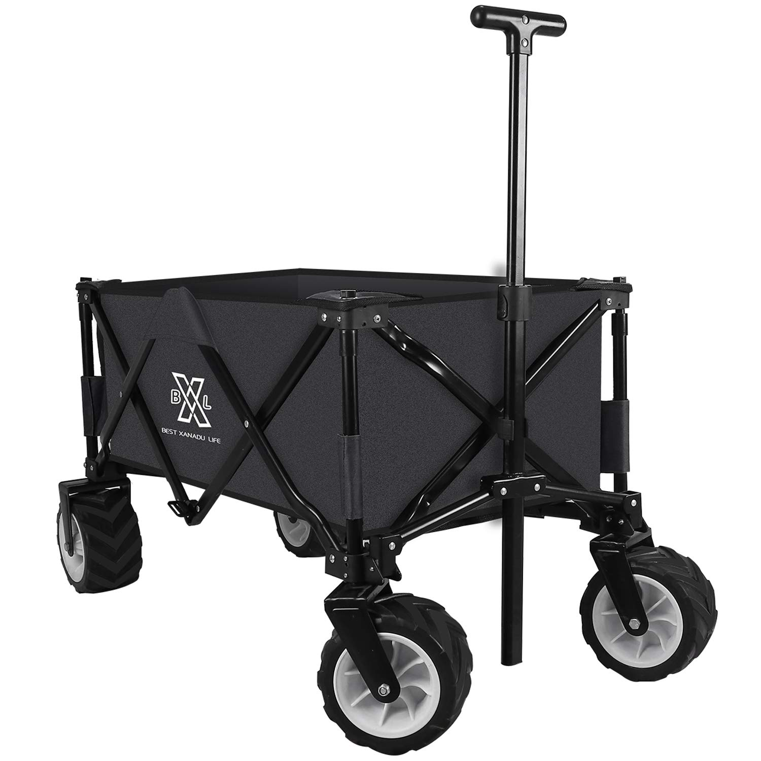 BXL Heavy Duty Collapsible Folding Garden Cart Utility Wagon for Shopping Outdoors (Black)