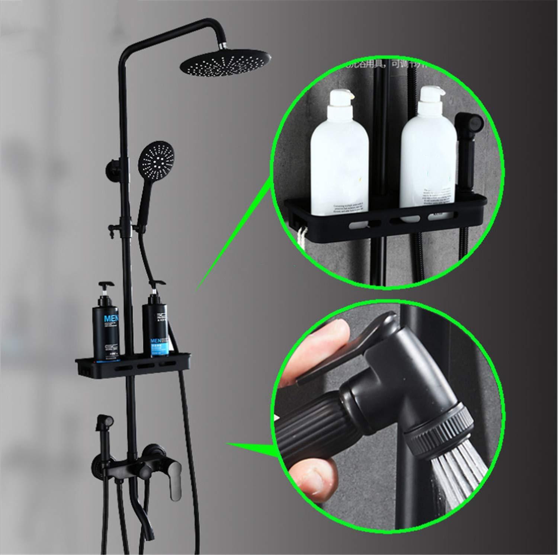 UNIQUE-F Matte Black Brass Body Four-Speed Bathtub Shower Set Rotatable Portable Top Spray Rack Corrosion-Resistant Wear-Resistant by UNIQUE-F (Image #3)