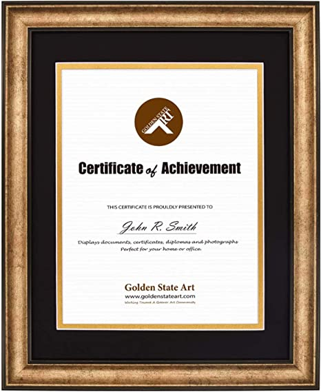 Real Glass Golden State Art 11x14 Frame for 8.5x11, Distressed Black with White Over Black Double Mat Document//Photo Wood Frame for Document /& Certificates