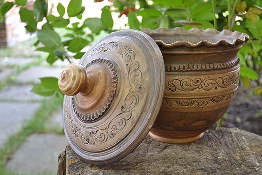 Maceta de barro para horno con tapa tratada con plata hecha a mano ...
