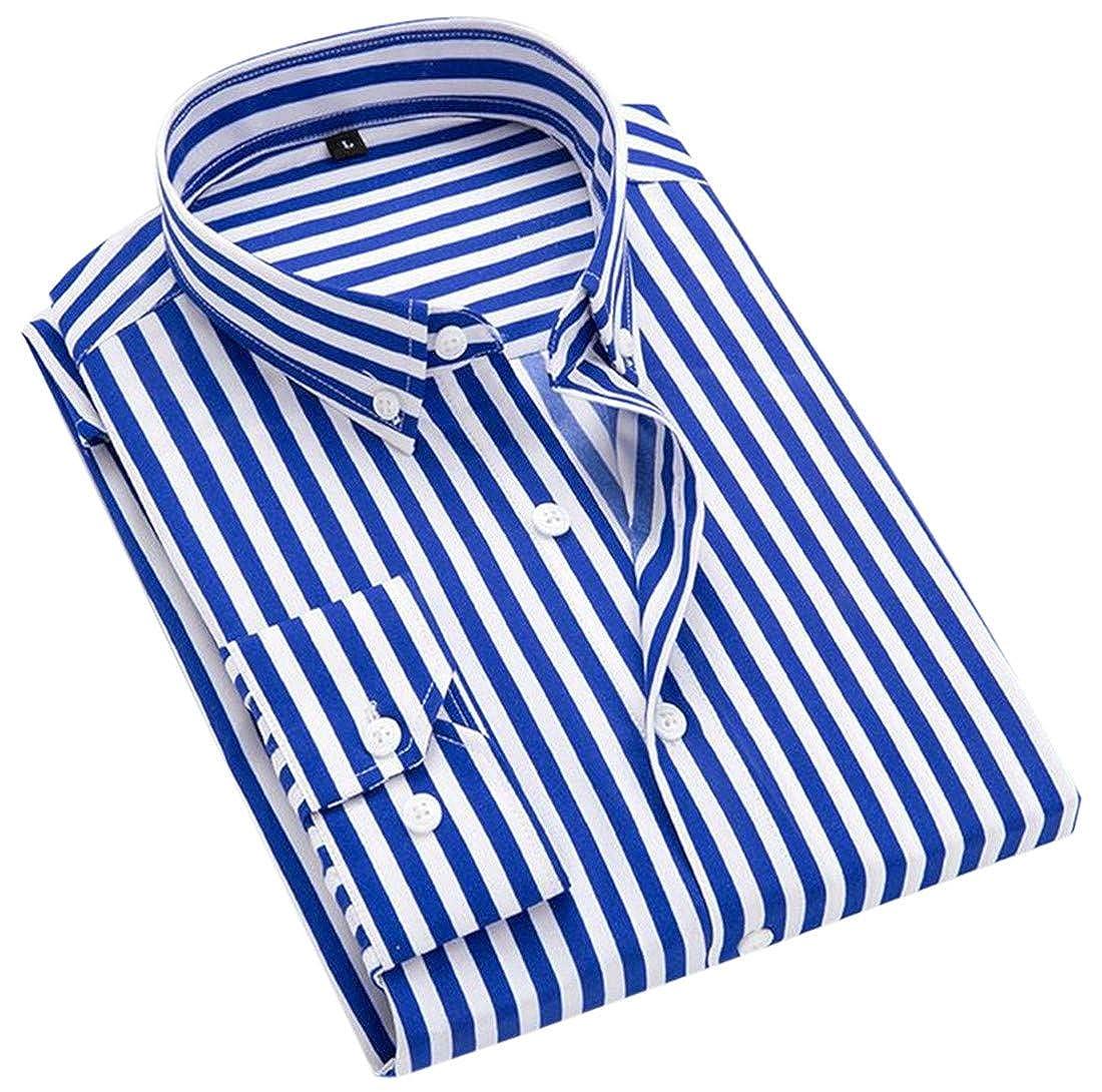 Nanquan Men Casual Slim Easy-Care Button Up Stripe Long Sleeve Shirt