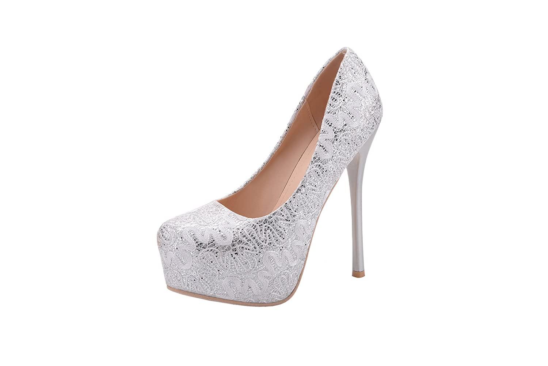 Mila Lady FAY Embroidered Lace Elegance Sky-high Sparkles Platform Lady Heels B072K8R3X1 8.5 B(M) US|Silver