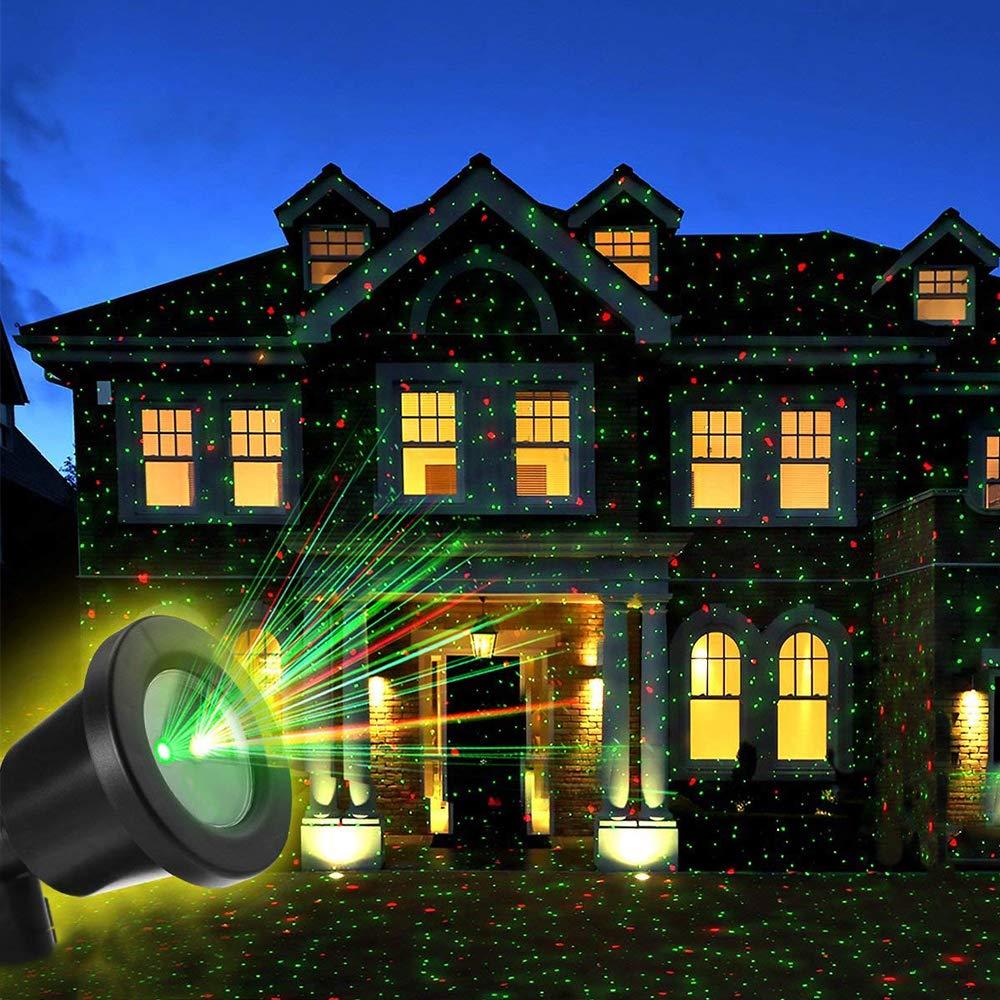 Lámpara de Proyección de Navidad,OUTTUO LED Proyector con Control Remoto, Decoración De Fiestas De IP65 Resistente Al Agua, para Fiestas, Boda, Paisaje, Jardín Y Cumpleaños