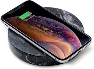 Natural Stone, Fast Wireless Charger by Eggtronic - Italian Designed Qi Certified Charger for iPhone, Galaxy, Note, AirPods 2, AirPods Pro, Galaxy Buds, Pixel Buds - Black Marble