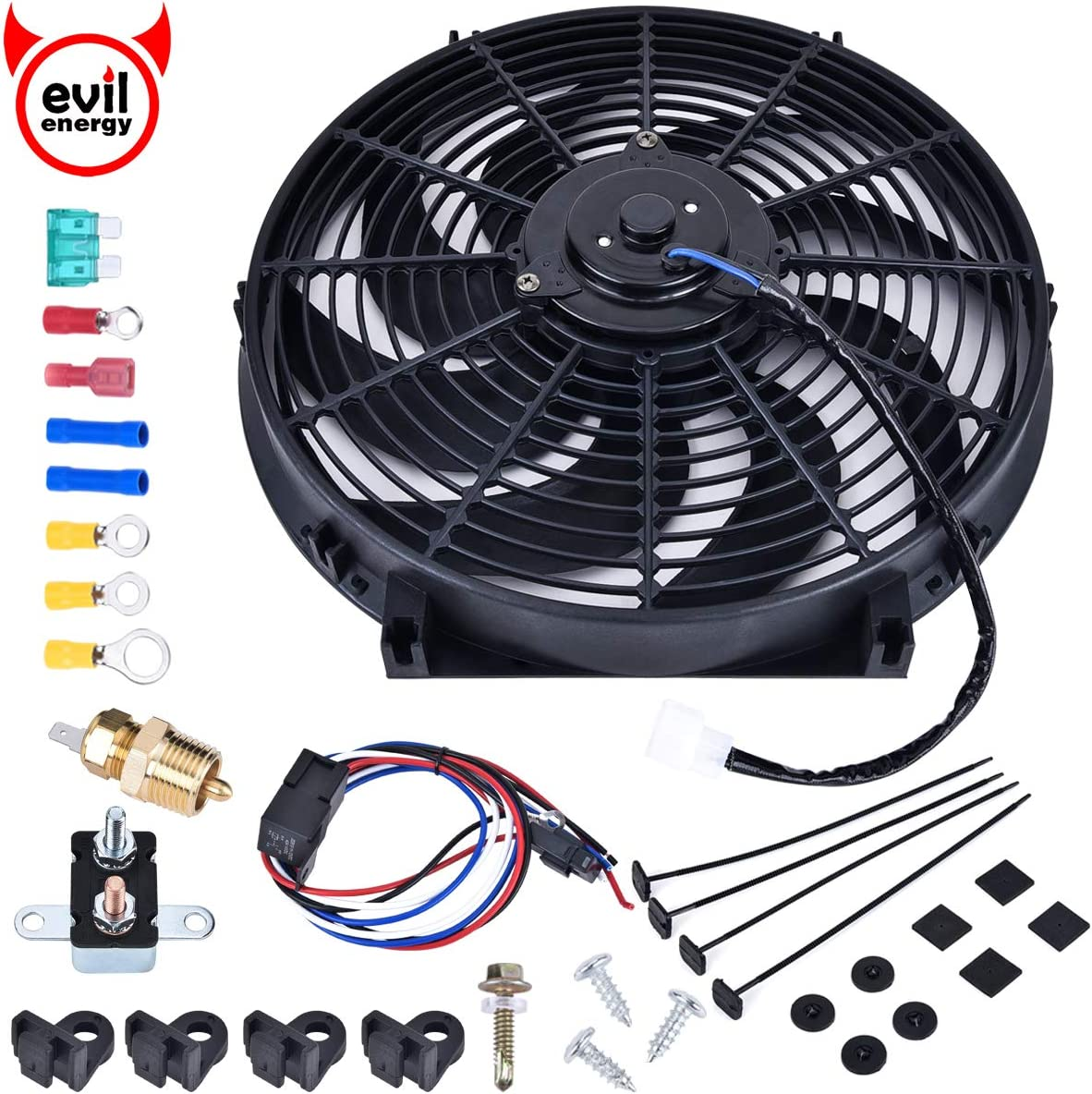 EVIL ENERGY Universal 12IN 12V 80W 1800CFM Electric Radiator Cooling Fan Mounting Kit 175-185 Degree Thermostat Relay Switch Kit Black Reversible Puller Push