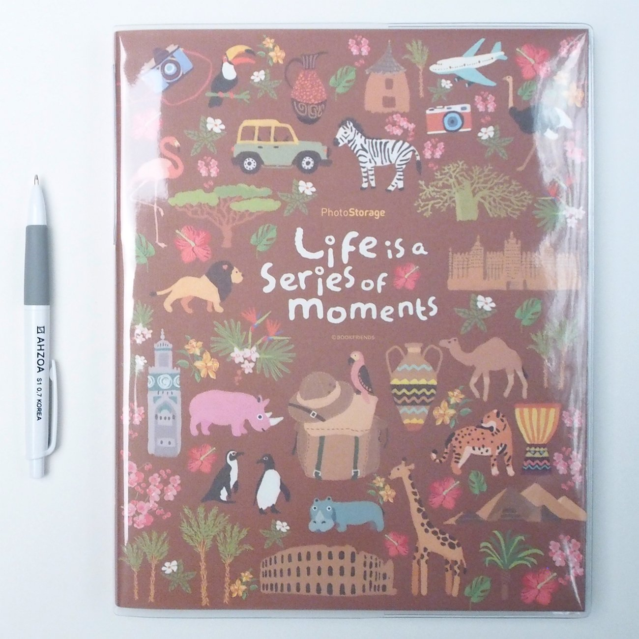 Photo Storage Album With AHZOA Pencil, 30 Pages Black Inner Page Self-adhesive Type 8.27 x 10.24 Inch (africa)