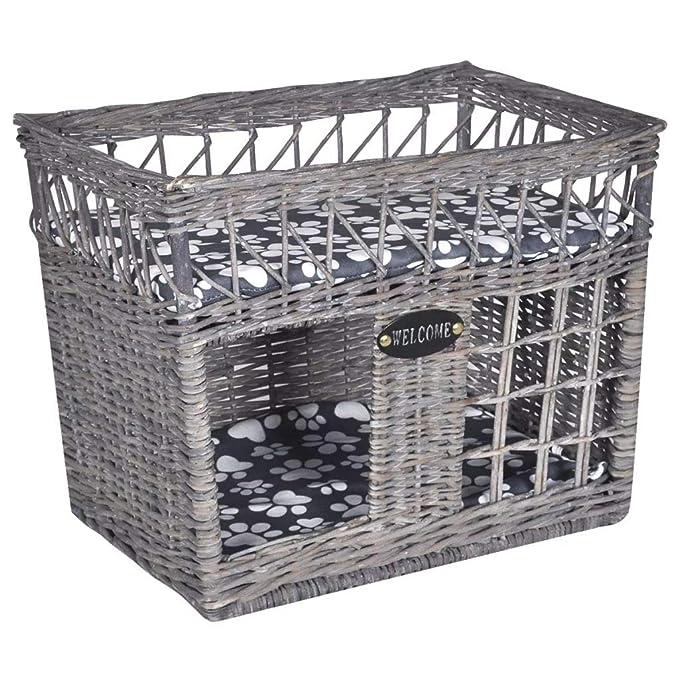 tidyard Casita Cama Rascador para Gato Interior y Exterior de Mimbre con Cojín Forma Cuadrada 46 x 32 x 36 cm Gris: Amazon.es: Hogar