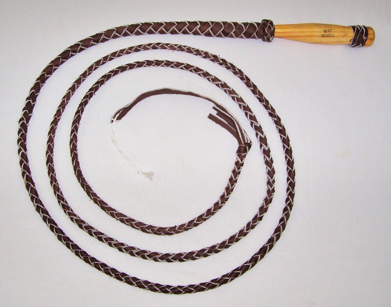 10足4 PlaitダークブラウンRealレザーBull Whip木製回転ハンドル   B074X86Y23