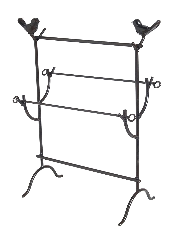 Black JT1001BLK Vintage Bird Style Metal Jewelry Organizer Earring Necklace Bracelet Holder Tree Tower 4 Tier Display Stand