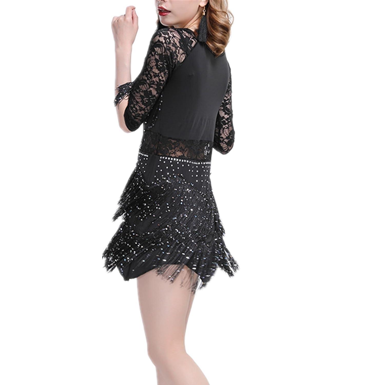 YOUMU Women Latin Dance Dress Salsa Cha Cha Tango Ballroom Costume ...