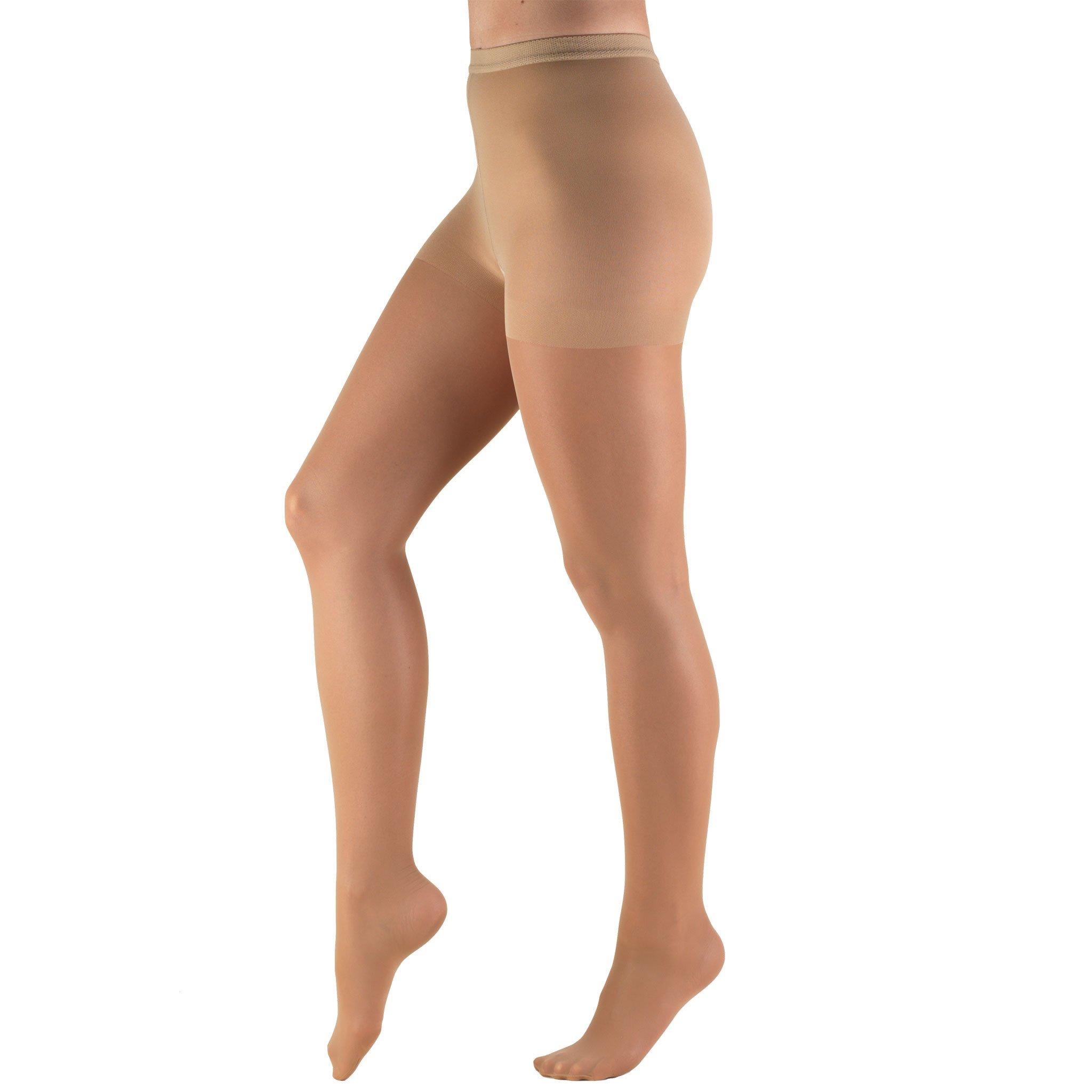 Truform Women's 8-15 mmHg Mild Sheer Compression Pantyhose, Beige, Medium
