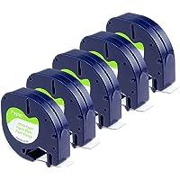 Lot de 5 rouleaux de papier pour étiquetage, blanc, 12 mm x 4 m, écriture noire sur fond blanc, Recharges 91200(S0721510), Compatible avec étiqueteuses Dymo LT100H LT100T QX 50XR XM 2000Plus