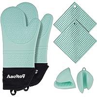 Bereik 6in1 Hittebestendige siliconen ovenwanten en Pannenlappen Hot Pads Pinch Set, antislip getextureerde XL…