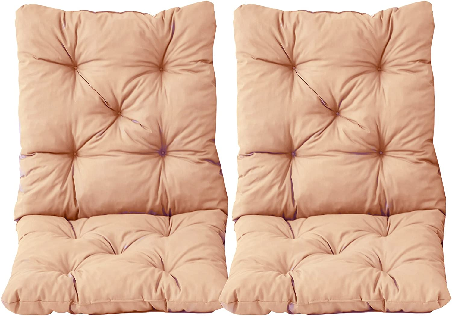 Red Ambientehome 98 x 50 x 8 cm HANKO Garden Arm Chair Cotton Padded Low Back Cushion 2-Piece