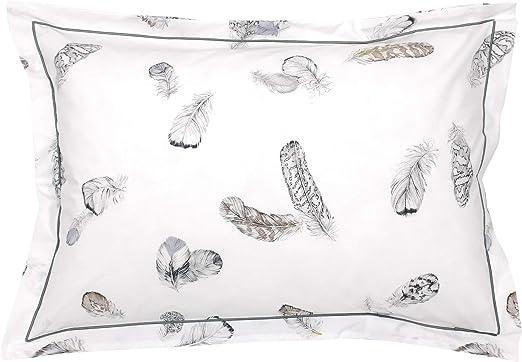 Funda de almohada 70 x 50 cm, percal de algodón, diseño de plumas