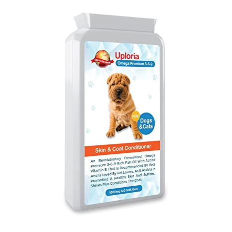 Suplementos para la piel del perro con prurito| Cápsulas de aceite de pescado Omega para perros & gatos ...