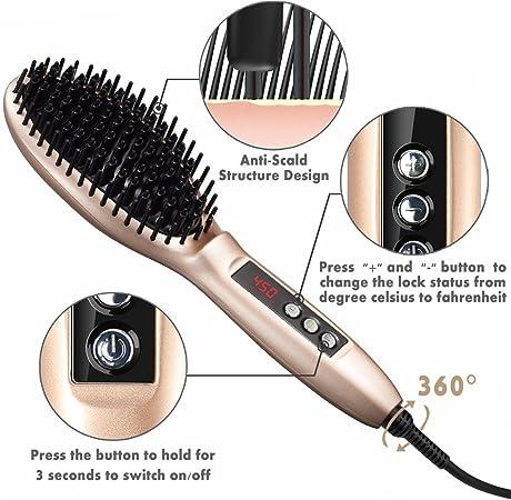 Cepillo alisador de pelo, elegante y suave, cepillo alisador de ...