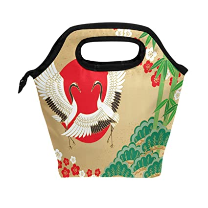 Amazon Com Wozo Japanese Bamboo Sun Crane Bird Insulated Lunch Bag