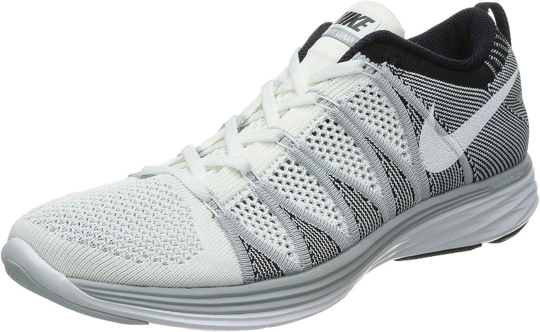 Nike Women s Wmns Flyknit Lunar2, WHITE WHITE-WOLF GREY-BLACK, 8.5 M US