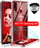 LeYi Samsung Galaxy A20S Case, Samsung A20S Case with 2 Tempered Glass Screen Protector, Shockproof Crystal Clear Hard PC Bumper Slim Protective Phone Cover Cases for Galaxy A20S (Not Fit A20)