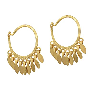 Buy Dzinetrendz Gold Plated Small And Sober Leaf Charms Hoop Bali